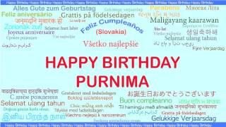 Purnima   Languages Idiomas - Happy Birthday