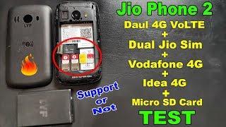 Jio Phone 2 Dual 4G VoLTE + Micro SD Card + 2 Jio SIM + Airtel 4G + Vodafone 4G +Idea 4G SIM TEST