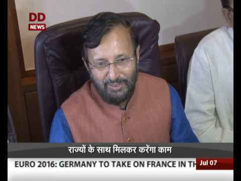 Newly appointed HRD Minister Prakash Javadekar takes charge