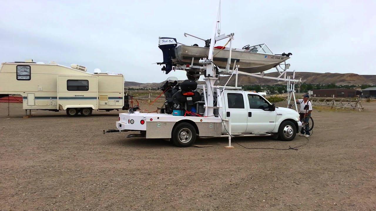 Truck Crane Loading Boat In Green River Wy Youtube