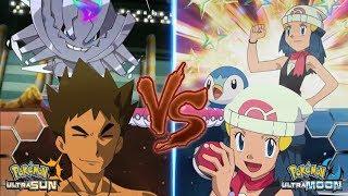 Pokemon Battle USUM: Brock Vs Dawn (Pokémon Ash's Companion Face Off!)