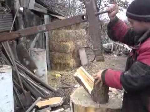 Колун для дров механический своими руками видео