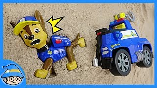 Paw Patrol Chase has fallen into the backyard! Rescue the Chase trapped in the dirt.