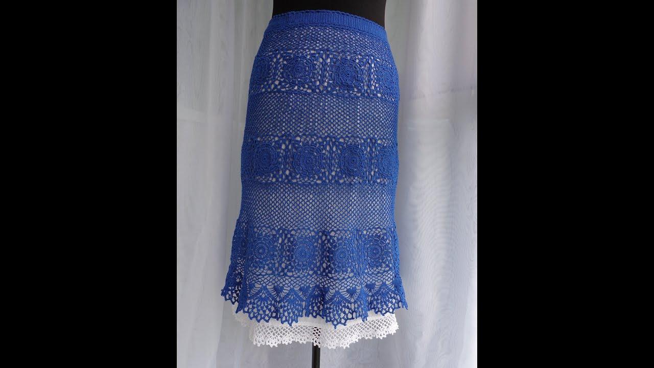 Прямая вязаная юбка крючком из квадратов, схема вязания 84