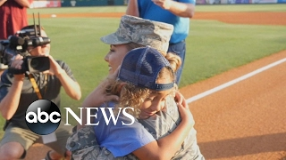 Air Force mom surprises son at RiverDogs baseball game after he throws out the first pitch