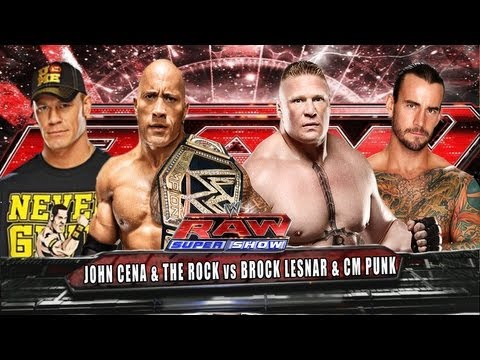WWE RAW John Cena & The Rock vs CM Punk & Brock Lesnar Full Match HD