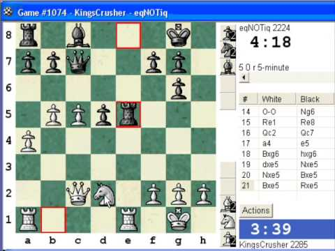 Chess World.net:  Blitz #385 vs. eqNOTiq (2224) - Trompowsky attack (Ruth, Opocenský opening) (A45)