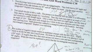 ASA and AAS word problems and intro to ASA:AAS worksheet