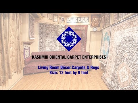 Living Room Décor Oriental Kashmir Carpets and Rugs - Size: 12 by 9 feet