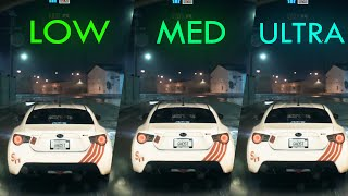 Need for Speed ULTRA vs HIGH vs MEDIUM vs LOW Graphics Comparison