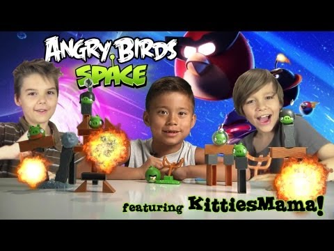 ANGRY BIRDS in SPACE & PLANET BLOCK GAME featuring KITTIESMAMA!!! Total Destruciton!