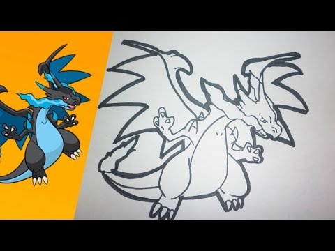 Como dibujar a MEGA CHARIZARD X paso a paso | how to draw MEGA CHARIZARD X step by step