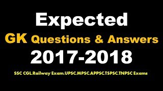 Expected General Knowledge Questions And Answers For SSC CGL 2018