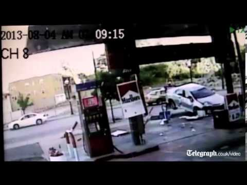 US motorist tries to flee scene of petrol station car crash in taxi