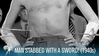 Man Stabbed With a Sword! (1940s) | British Pathé