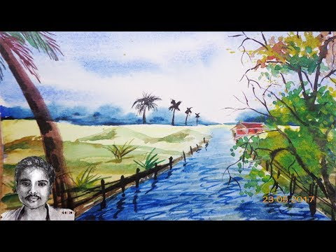 Watercolor Scenery Landscape Painting Tutorial