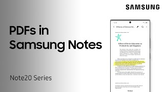 01. How to add PDFs to your Samsung Notes on your Galaxy Note20 | Samsung US
