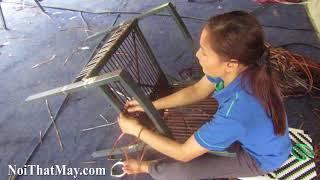 Hướng dẫn từng bước cách đan bàn ghế cafe nhựa giả mây sân vườn