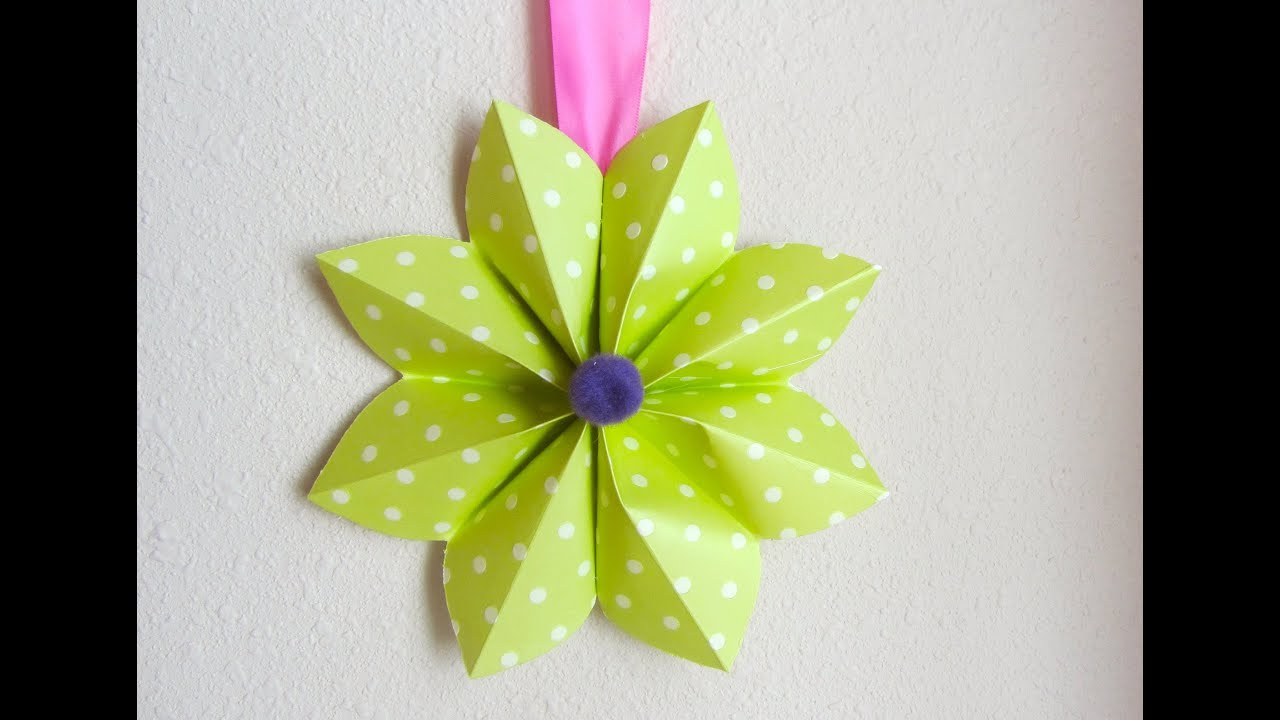How to fold a origami paper flower decoration for a party for Flower decoration made of paper