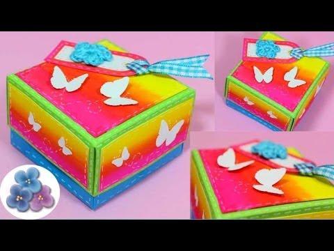 Como hacer una caja diy how to boxes origami hacer cajas decoradas scrap gift box pintura - Cajas de carton decoradas baratas ...