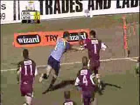 Greg Inglis (2005) try off an inside pass from Cooper Cronk for the Norths Devils against the Burleigh Bears.