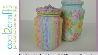 How to Create the Look of Embossing with Glue on Glass Jars by EcoHeidi Borchers