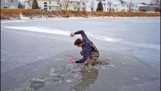 Polar Plunge Ice Fishing CHALLENGE!  (Fell through)