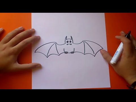 Como dibujar un murcielago paso a paso | How to draw a bat