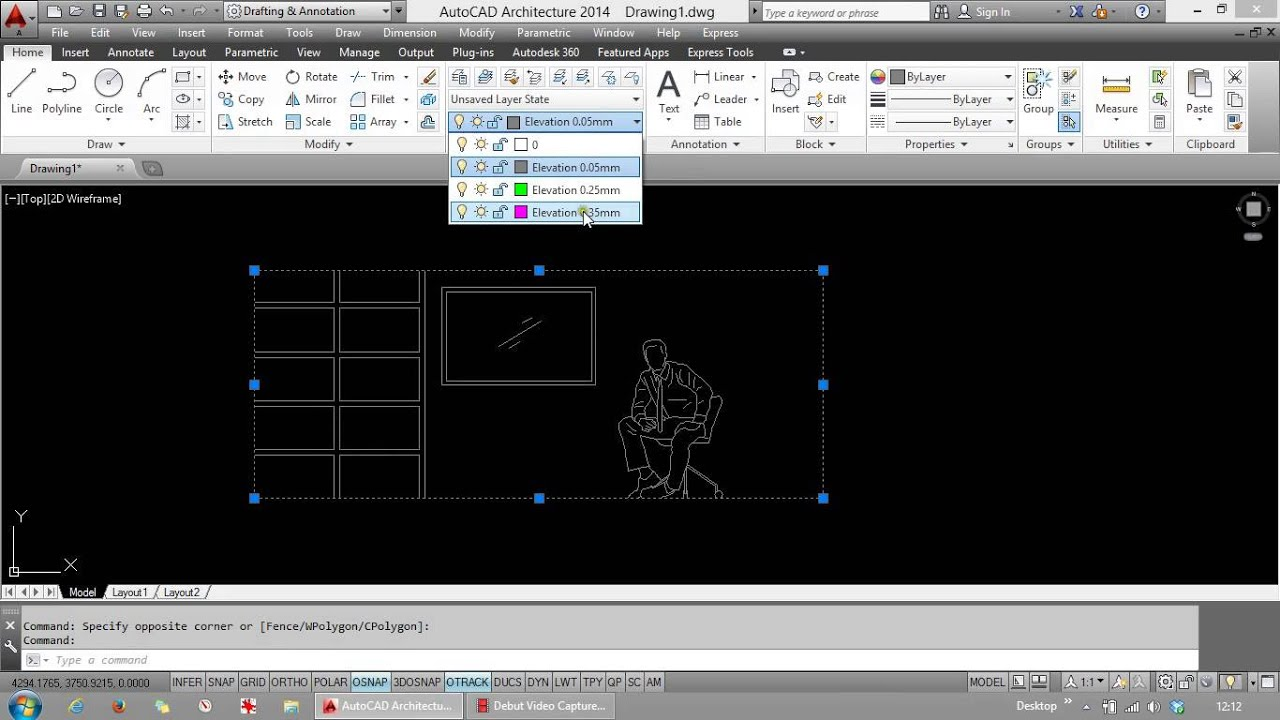 how to draw elevations in autocad lt