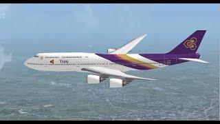 BOEING 747 8i THAI AIRWAYS LANDING AT FRANKFURT INTL AIRPORT FS9 HD