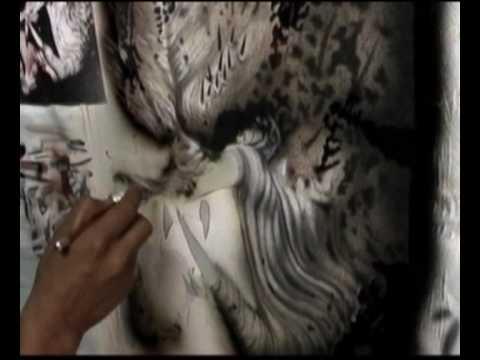 Aerografía sobre tela (Pintando Monstruo Depredador Parte 6)
