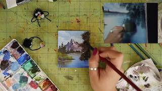 Following a Bob Ross Painting Tutorial on a Tiny Canvas! - Joy of Painting
