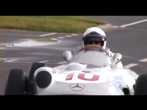 Jochen Mass at the wheel of Fangio's Mercedes-Benz W196 grand prix car, recorded at the Brooklands Centenary Festival 16 June 2007.