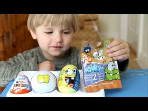 Cut the Rope Blind Bag. Spongebob. Moshi Monsters and Kinder Surprise Eggs - Opening Video
