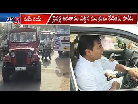 డ్రైవర్లుగా మారిన బావా బామ్మర్దులు..| Minister KTR And Harish Rao Morning Rides | TV5 News