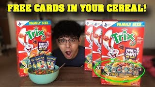 I FOUND BRAND NEW POKEMON CARDS INSIDE MY CEREAL AND YOU CAN TOO! *Opening ALL PACKS*
