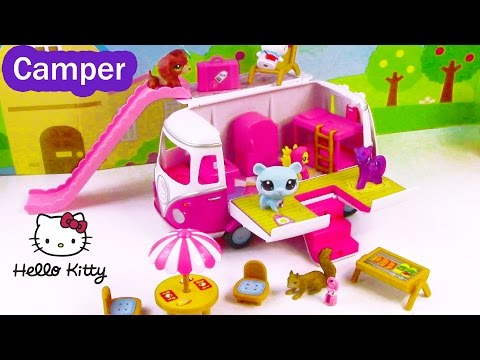 MLP LPS Hello Kitty Summer Camper RV Van  Review with Fluttershy Twilight Littlest Pet Sho