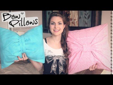No-Sew BOW PILLOW cover ♥ How-To // DIY Room Decor