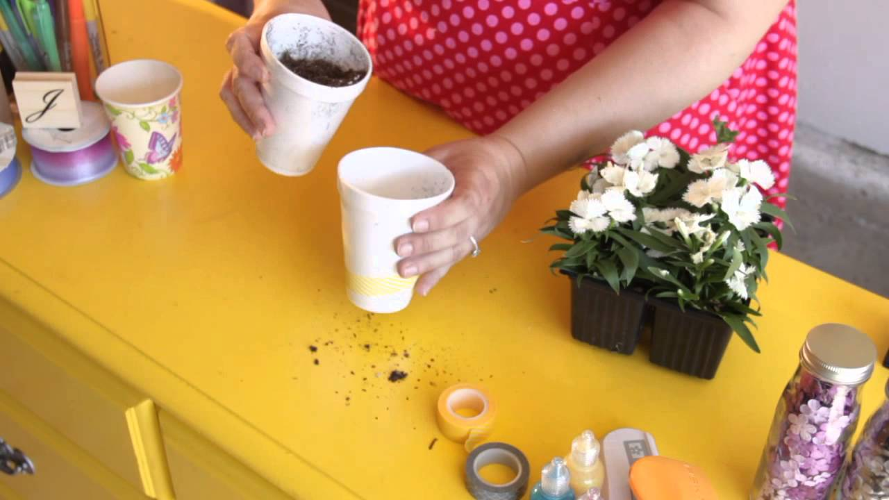 How To Make Flower Pots From Foam Cups Craft Project