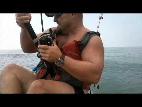 Father and son Kayak Shark Fishing - Galveston 2011