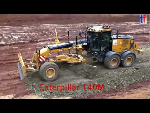 CATERPILLAR 140M GRADER on highway construction site, A8, Karlsbad, GERMANY. 2013