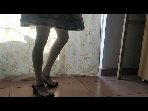Lolita skirt with maid shoes and white stockings