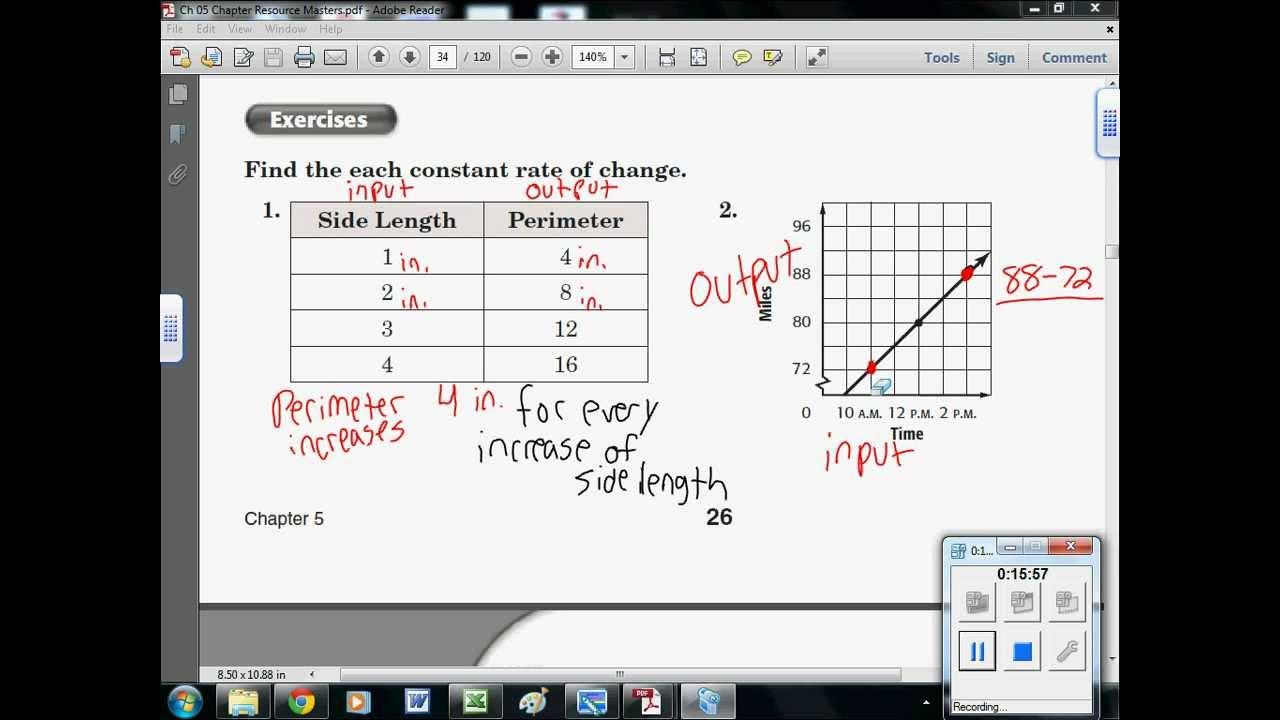 Find constant rate of change worksheet