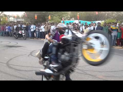 Motor Cycle Stunts At NIT Warangal Spree 14