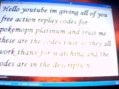 pokemon platinum ar codes that work!