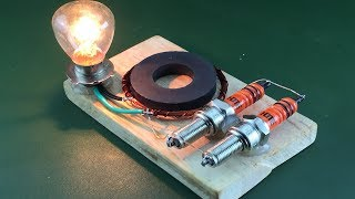 Science 2019 Free Energy Using Magnet With Spark Plug | Technology Creative Project At Home