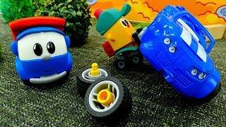 O carro de corrida. Léo o caminhão de brinquedo. Vídeos de brinquedos.