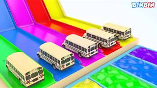 Colors for Children to Learn with Street Vehicles School Bus Toys - Colours Water Sliders for Kids