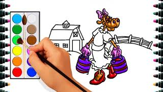 How to draw cows to milk for children - drawing and coloring for kids - bé yêu tv