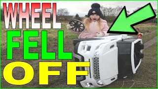 I BROKE MY BROTHERS CAR ! POWER WHEELS KIDS ELECTRIC CARS   ANGELS PLAY TIME